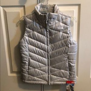 The North Face silver gray vest size small